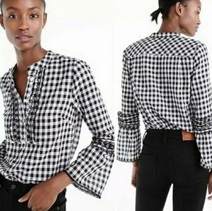 J. Crew Gingham Tiered Bell Sleeve Popover Blouse